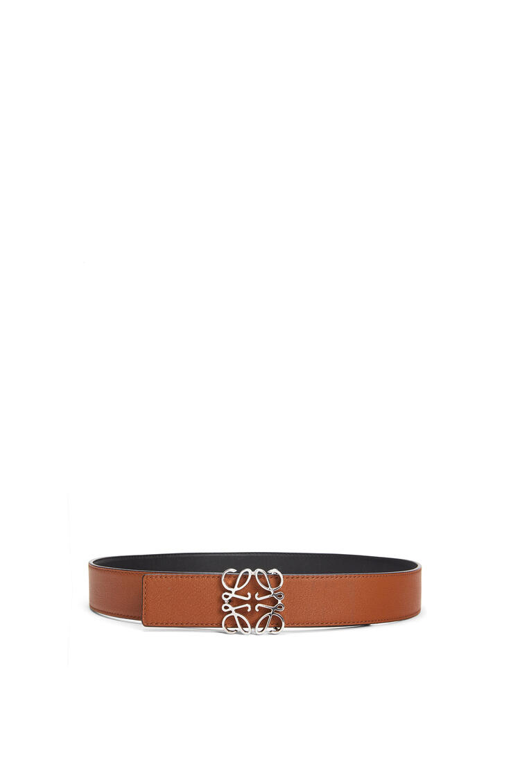 LOEWE Cinturón Anagrama en piel de ternera lisa Negro/Bronceado/Paladio pdp_rd