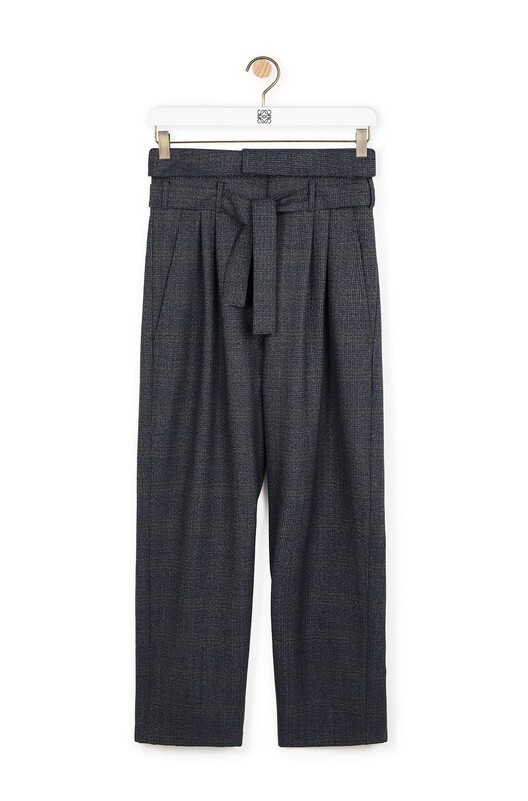 e5370933 LOEWE Belted Pleated Ov Trousers Grey front
