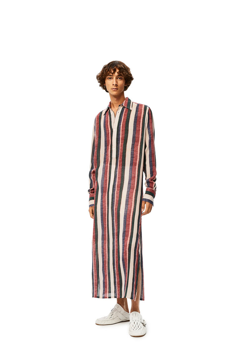 LOEWE Long tunic in striped cotton Pink/Strawberry/Blue pdp_rd