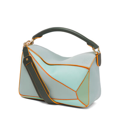 LOEWE Puzzle Bag Aqua Multitone front