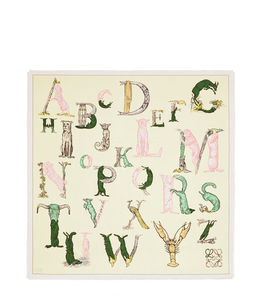 LOEWE 140X140 Scarf Alphabet Light Yellow front