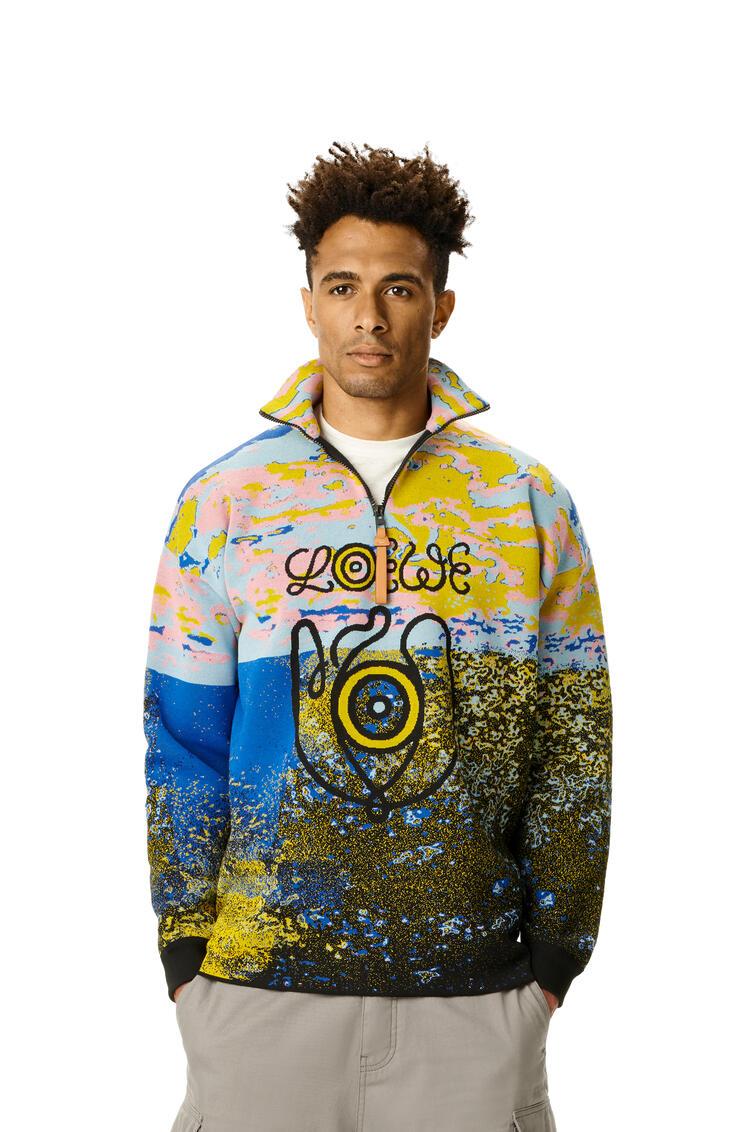 LOEWE Zip Highneck Sweater In Wool Multicolor pdp_rd