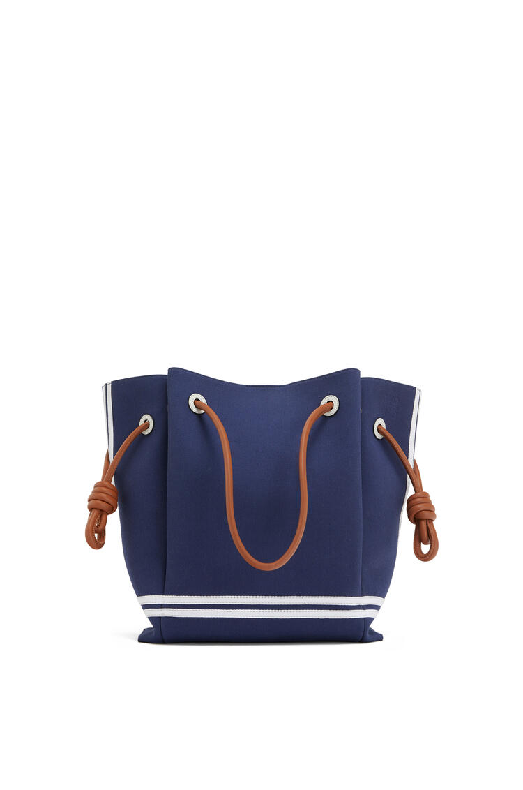 LOEWE Flamenco knot tote bag in canvas and calfskin Deep Blue/Soft White pdp_rd