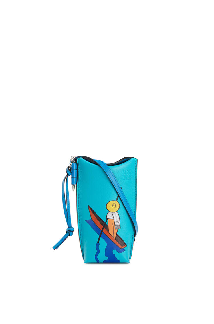 LOEWE Happy's Curios Gate Pocket in soft calfskin Caribbean Blue/Multicolor pdp_rd