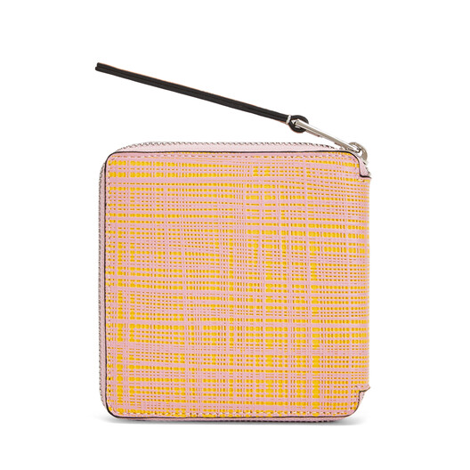 LOEWE Square Zip Wallet Yellow/Pink front