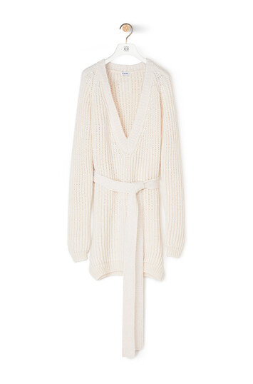 LOEWE Ribbed Belted Sweater Optic White front