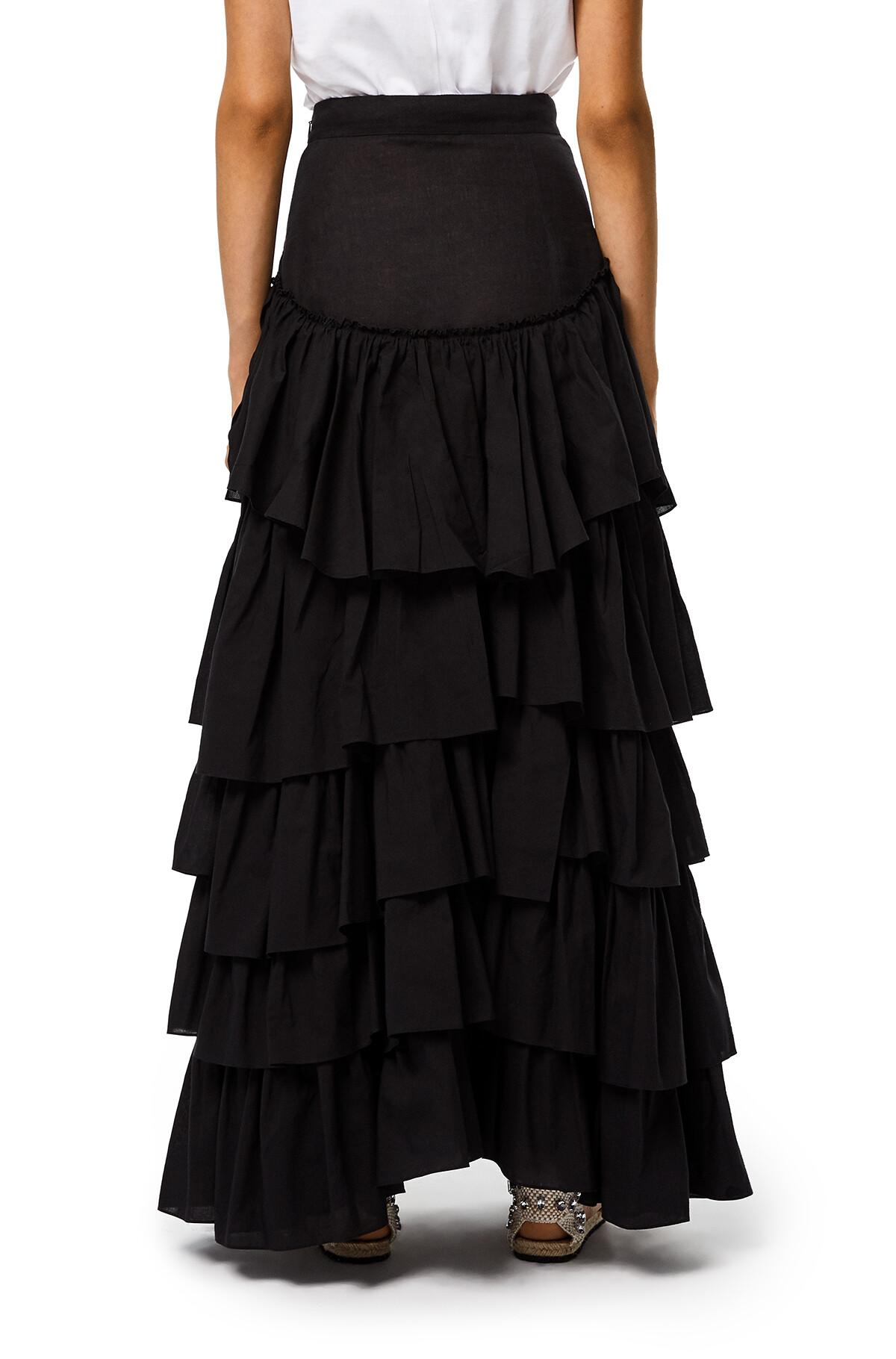LOEWE Ruffle Skirt In Cotton Black front
