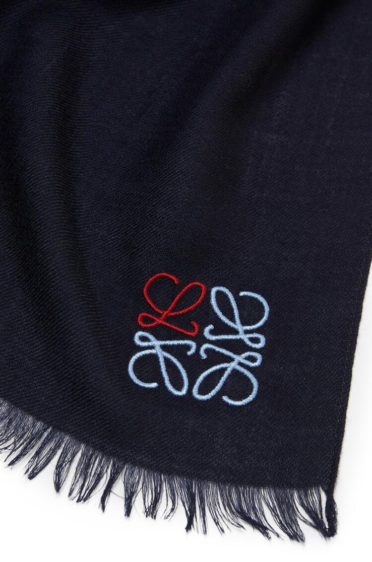 LOEWE LOEWE Anagram scarf in cashmere Navy Blue pdp_rd