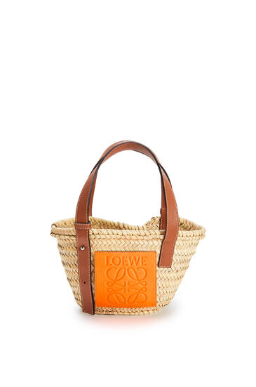 LOEWE Small Basket Bag In Palm Leaf And Calfskin Natural/Neon Orange pdp_rd