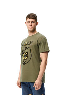 LOEWE Embroidered T-shirt in cotton Old Military Green pdp_rd