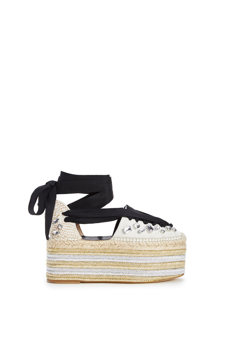 LOEWE Wedge espadrille in cotton Black/White pdp_rd