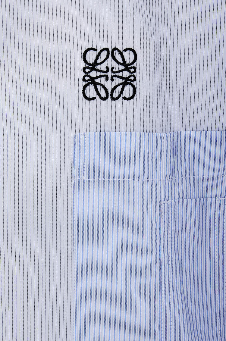 LOEWE Multipocket asymmetric shirt in cotton White/Blue/Black pdp_rd