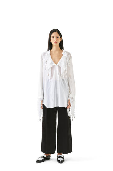 LOEWE Lace Petal Blouse In Cotton White pdp_rd