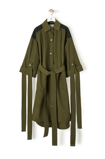 LOEWE Nylon Oversize Coat Black/Khaki Green front