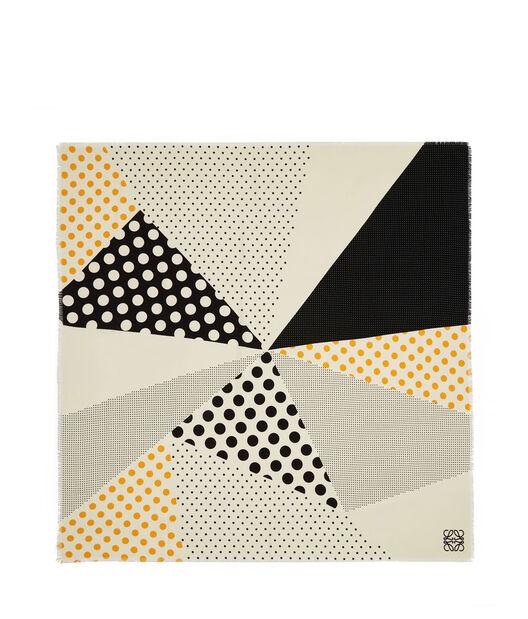 LOEWE 140X140 Scarf Patchwork Dots Negro/Naranja front