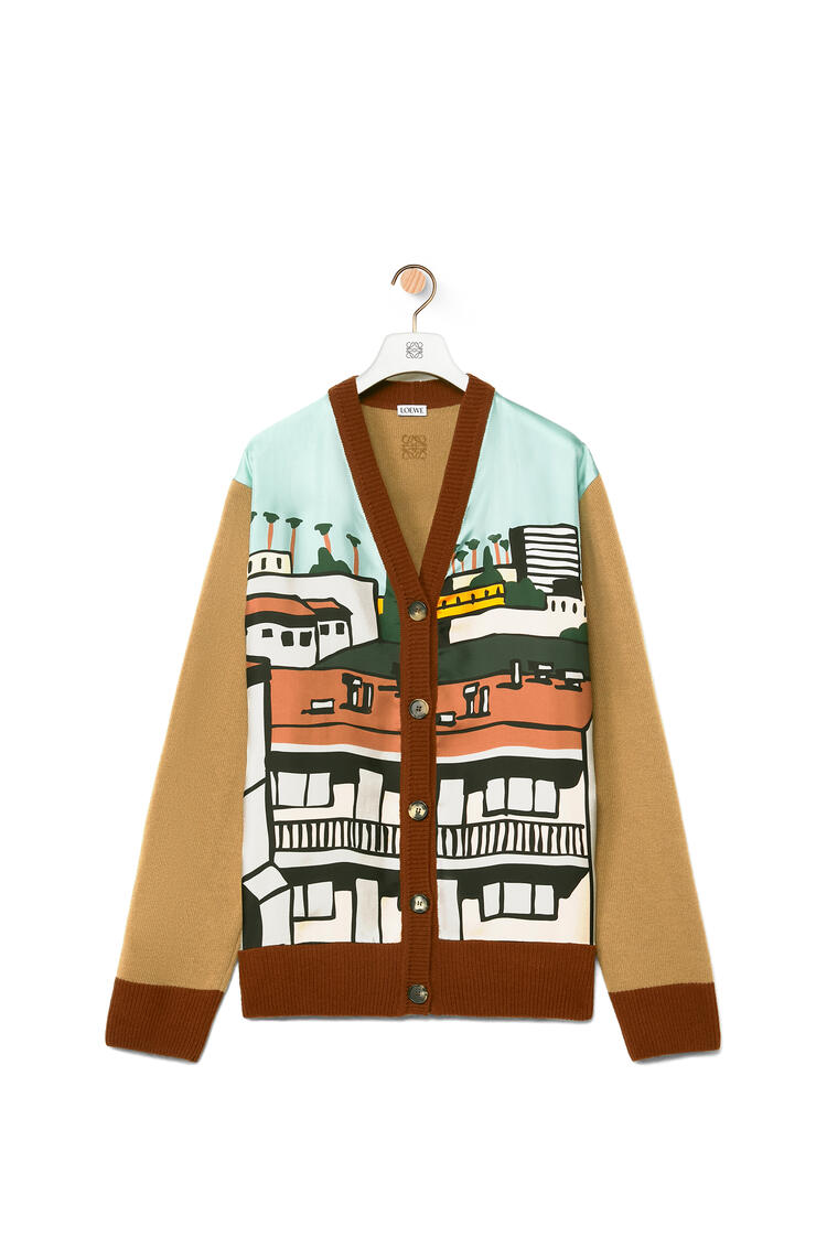 LOEWE L.A. Series panel cardigan in wool and silk Camel/Multicolor pdp_rd
