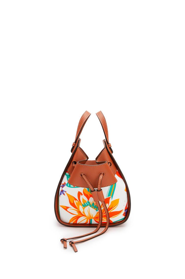LOEWE Mini Hammock Drawstring Bag In Classic Calfskin And Waterlily Canvas Tan/White pdp_rd