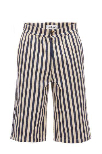 LOEWE Stripe Shorts Ecru/Navy Blue front