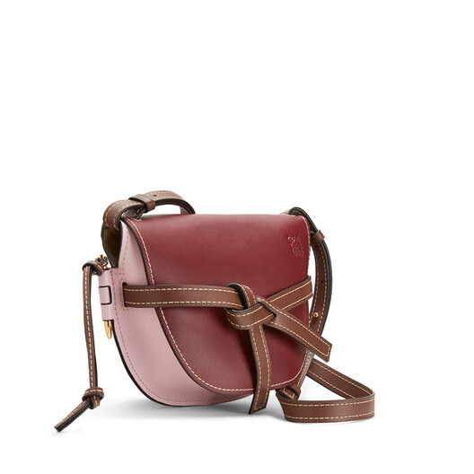 LOEWE Gate Small Bag Wine/Pastel Pink front