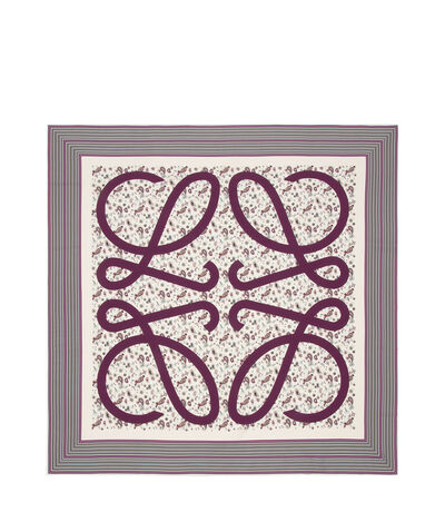 LOEWE 140X140 Scarf Paisley Anagram White/Burgundy front