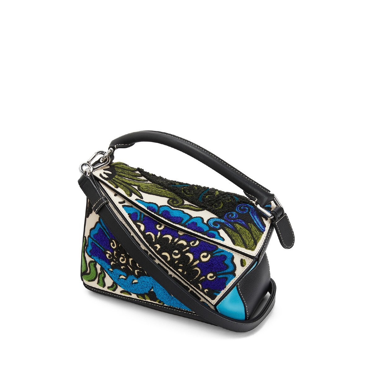 LOEWE Puzzle Floral Small Bag Peacock Blue front