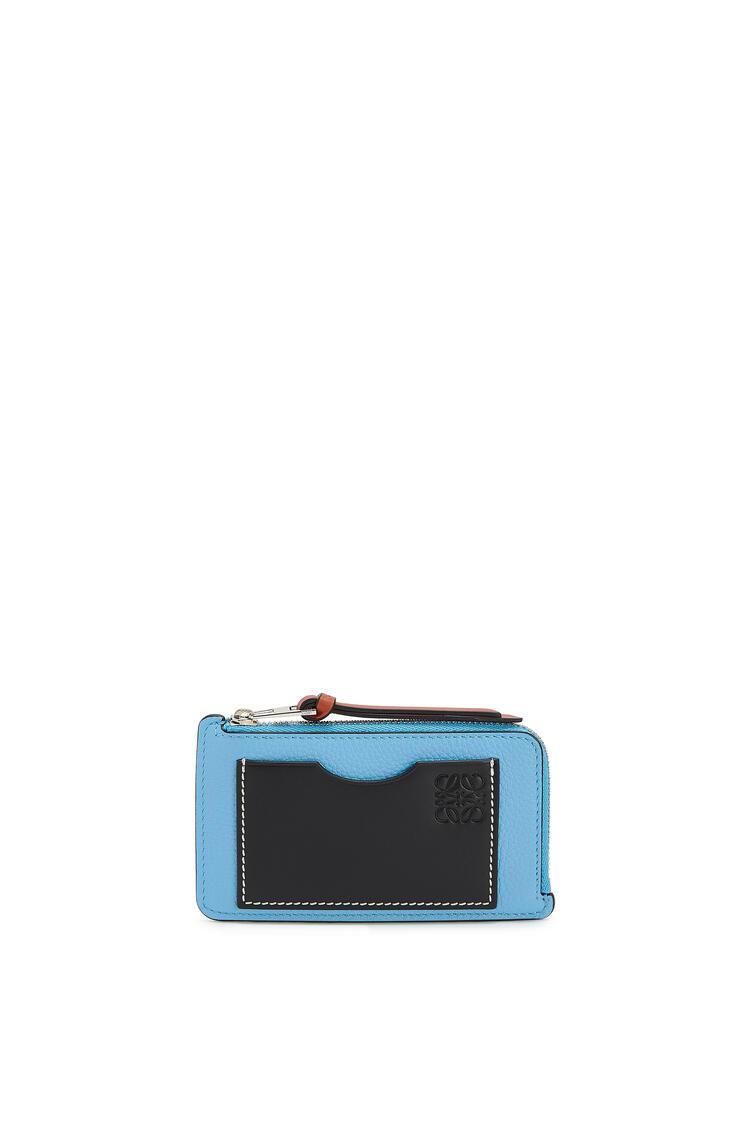 LOEWE Coin cardholder in soft grained calfskin Sky-blue/Black pdp_rd