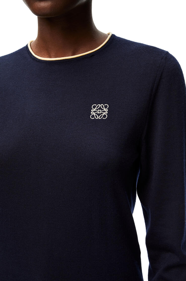 LOEWE Anagram embroidered crewneck sweater in cashmere Dark Navy pdp_rd