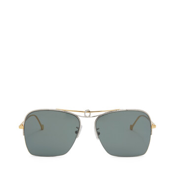 LOEWE Knot Pilot Square Sunglasses Gold/Green Smoke front