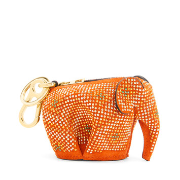 LOEWE Elephant Charm In Micro-Studded Suede Orange/Multicolor front