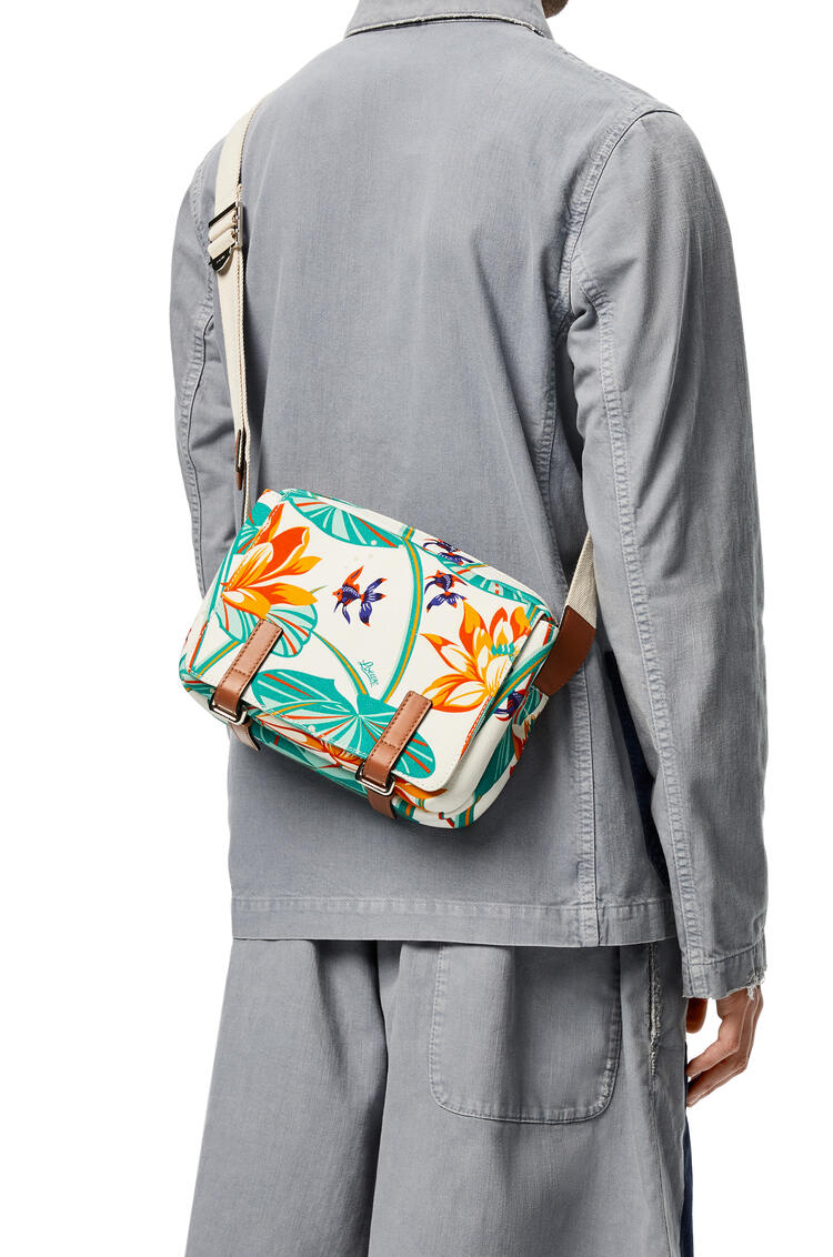 LOEWE Xs Military Messenger Bag In Waterlily Canvas And Calfskin White pdp_rd
