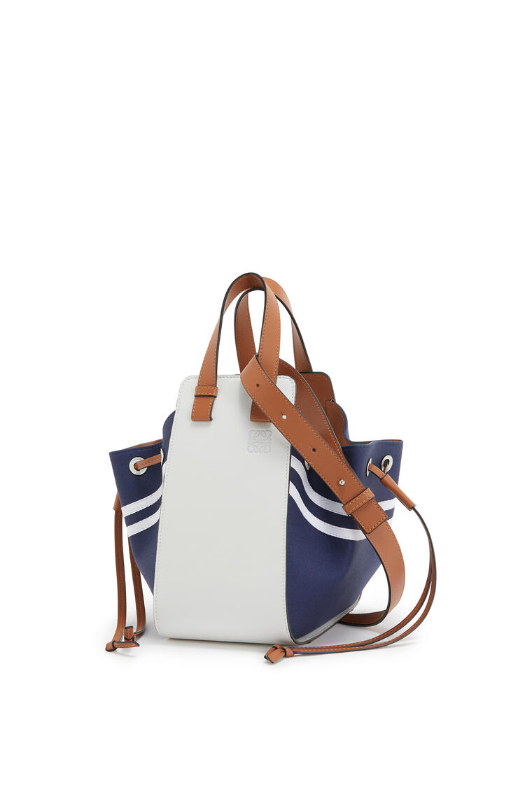 LOEWE Small Hammock Drawstring bag in calfskin and canvas Deep Blue/Soft White pdp_rd