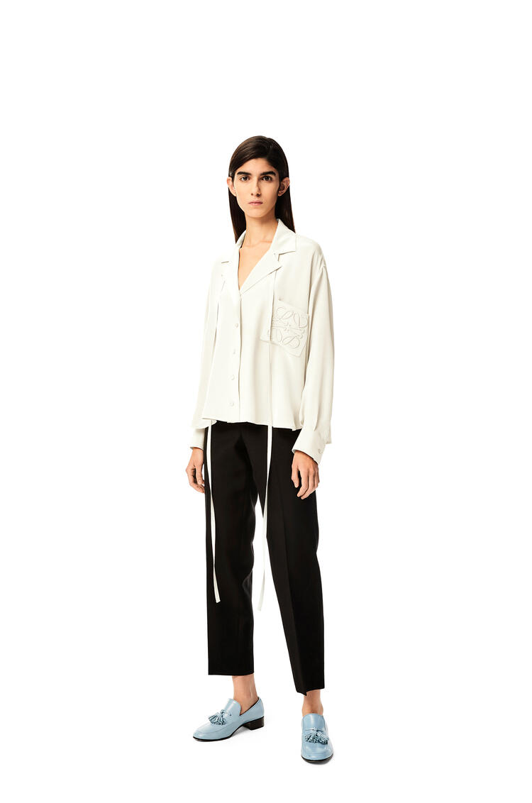 LOEWE Anagram embroidered pyjama blouse in satin White pdp_rd