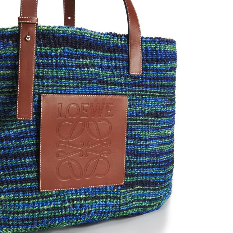 LOEWE Large Basket Bag In Sisal And Calfskin 黑色/藍色 pdp_rd
