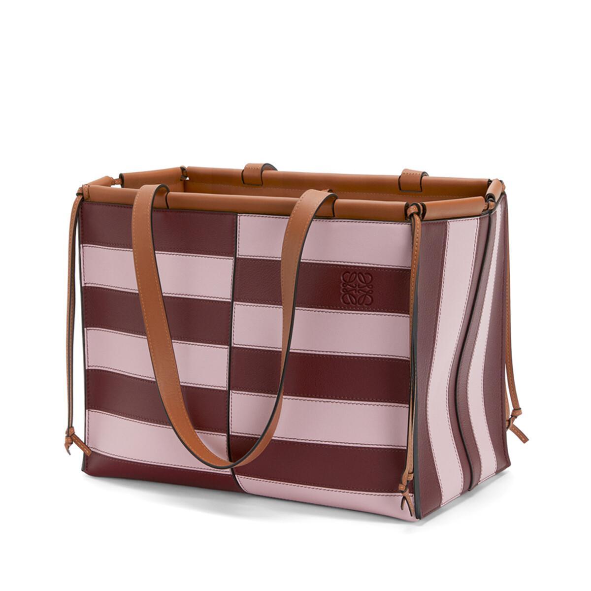 LOEWE Cushion Tote Rugby Pastel Pink/Wine front