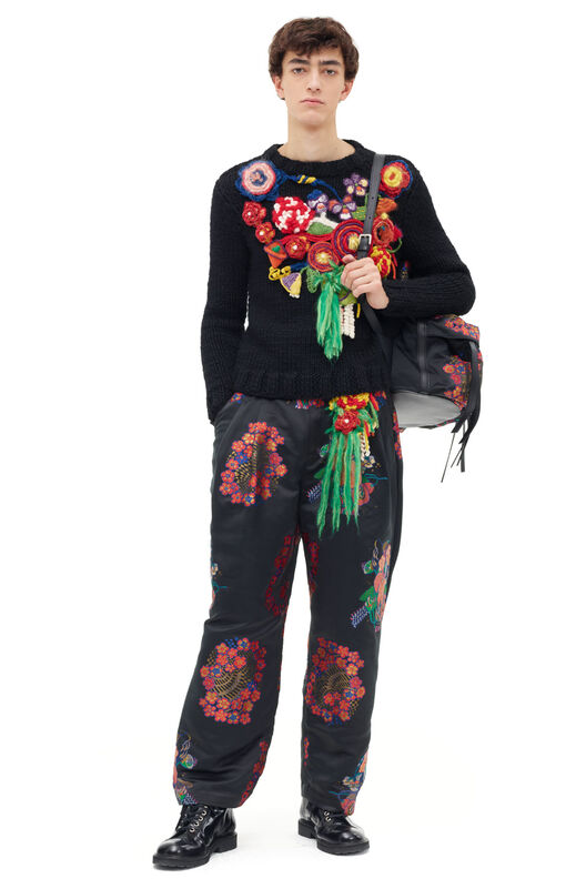 LOEWE Trousers Bouquet Black/Pink front