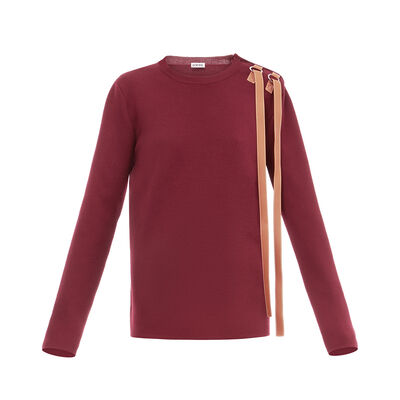 LOEWE Leather Strap Sweater Burgundy front