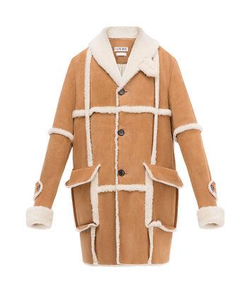 LOEWE Shearling Coat 驼色 front