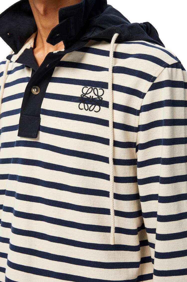 LOEWE Polo En Algodón De Rayas Con Capucha Blanco/Azul pdp_rd