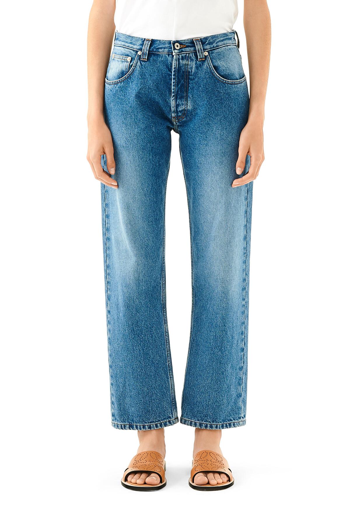 LOEWE 5 Pocket Jeans Flower Emb Denim Lavado front