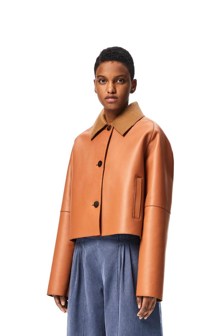 LOEWE Bonded cropped jacket in nappa and wool Tan pdp_rd
