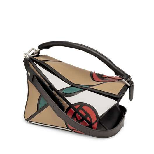 LOEWE Puzzle Roses Bag Mocca/Multicolor front