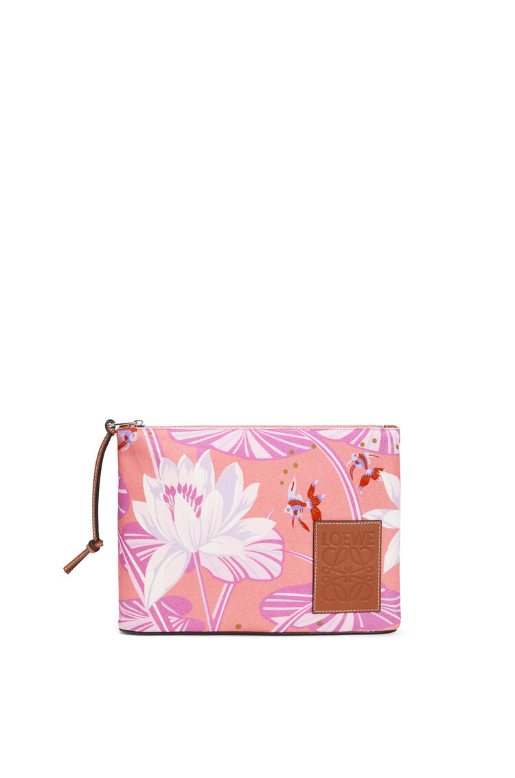 LOEWE Oblong Pouch In Waterlily Canvas Salmon/Pink pdp_rd