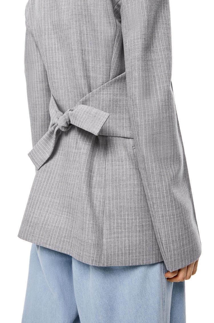 LOEWE Peak lapel jacket in striped virgin wool Grey pdp_rd