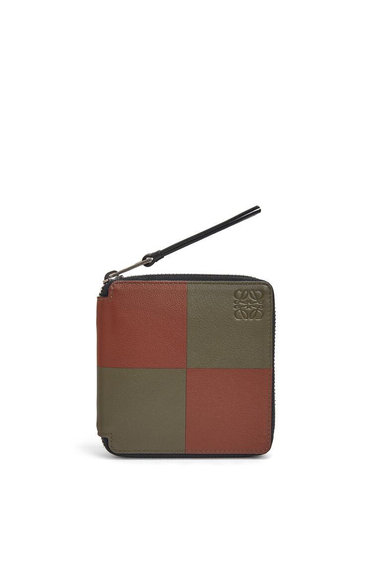 LOEWE Bicolor Square Zip Wallet In Classic Calfskin Khaki Green/Cognac pdp_rd