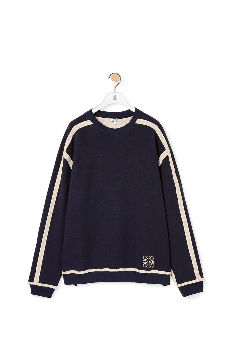 LOEWE Anagram embroidered oversize sweatshirt in cotton Navy Blue/Off White pdp_rd