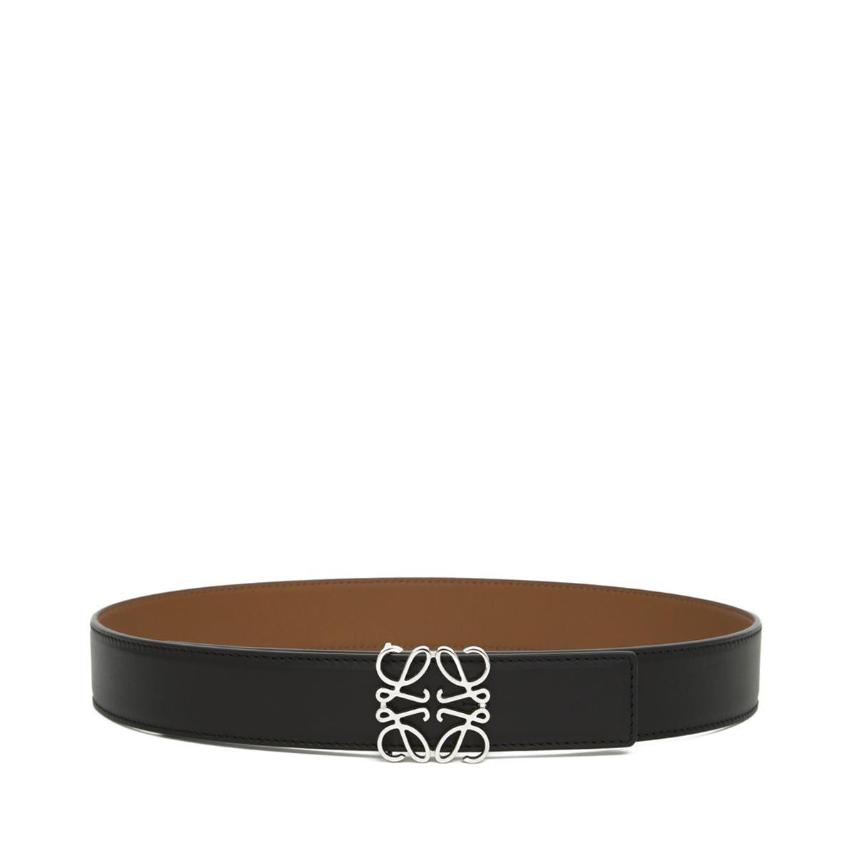 LOEWE Cinturon Anagrama 3.2Cm Negro/Bronceado/Paladio front