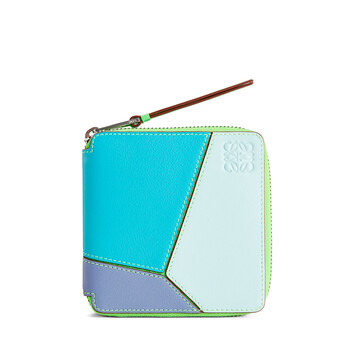 LOEWE Puzzle Square Zip Wallet In Classic Calfskin Lagoon Blue/Blueberry front