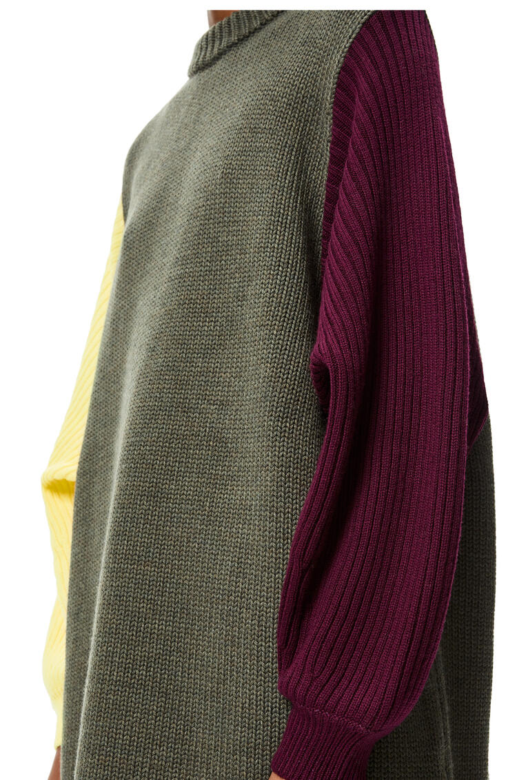 LOEWE Jersey oversize en lana colour-block Gris Oscuro/Multicolor pdp_rd