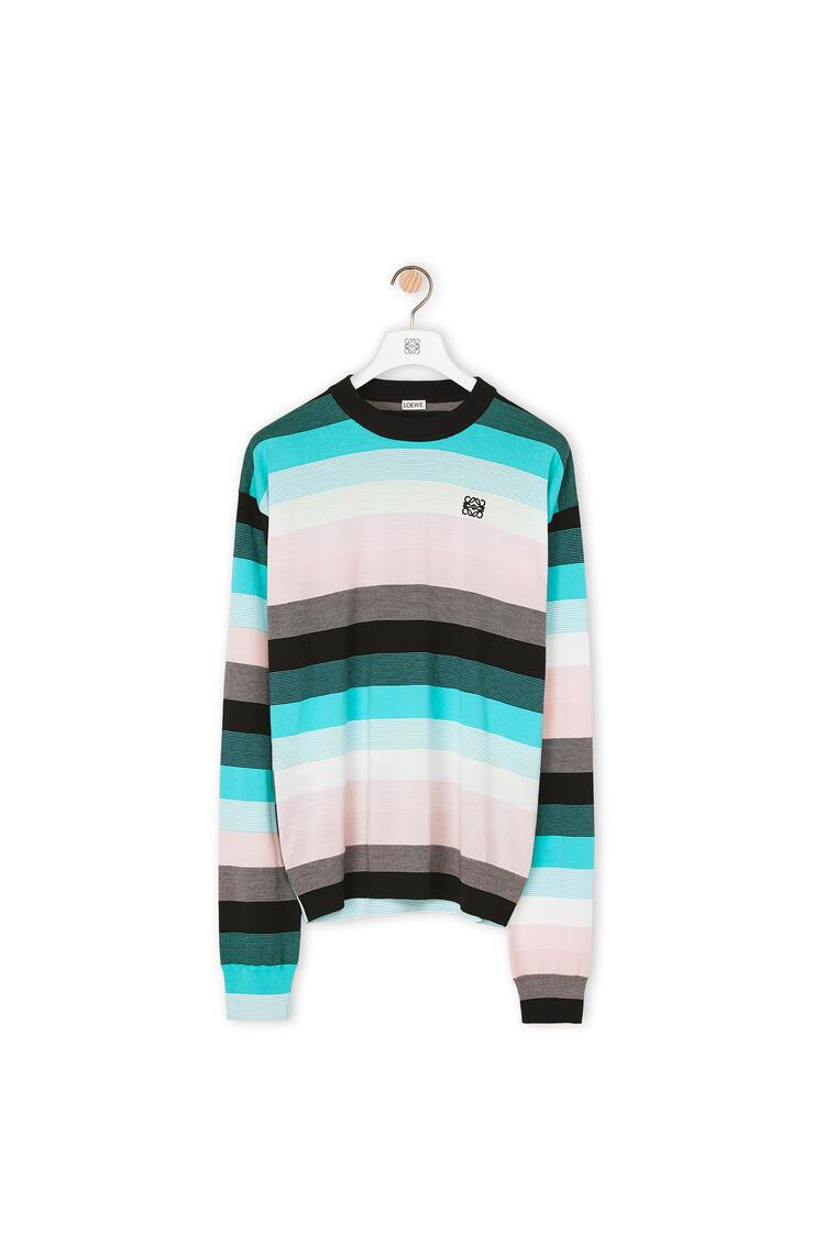 LOEWE 条纹亚麻 Anagram 刺绣毛衣 Blue/Pink/White pdp_rd