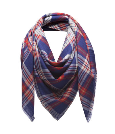 LOEWE 140X140 Scarf Chekcs Anagram Blue/Red/White front